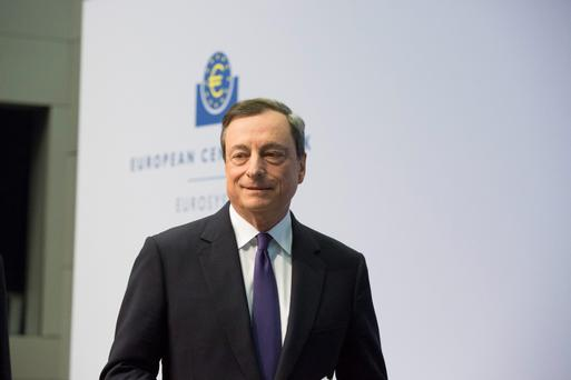 Mario Draghi, president of the European Central Bank (ECB), arrives for a news conference to announce the bank's interest rate decision at the ECB headquarters in Frankfurt, Germany, on Wednesday, April 15, 2015. Draghi claimed the first successes for his quantitative easing program, and played down concerns that the European Central Bank will struggle to implement it fully. Photographer: Martin Leissl/Bloomberg
