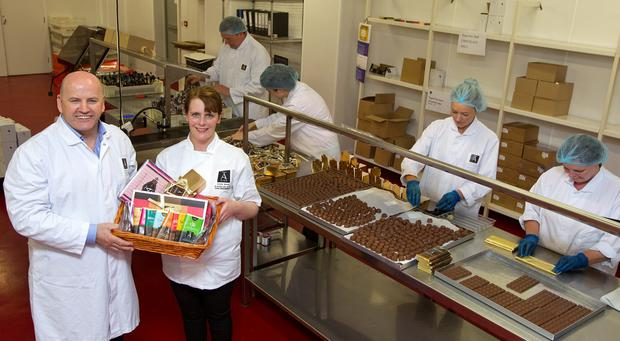 Raising of the bar: Sean Gallagher with Ann Rudden, MD of Aine Hand Made Chocolate, in Stradone, Co Cavan