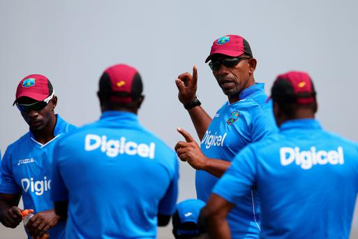 West Indies Nets Session In Antigua...ANTIGUA, ANTIGUA AND BARBUDA - APRIL 11: Phil Simmons (2R) the head coach of West Indies during the West Indies nets session at the Sir Vivian Richards Stadium on April 11, 2015 in Antigua, Antigua and Barbuda. (Photo by Michael Steele/Getty Images)...S