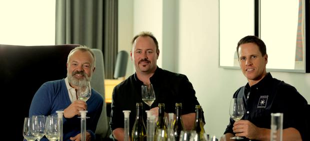 Graham Norton with Rob Cameron of Ivivo wines
