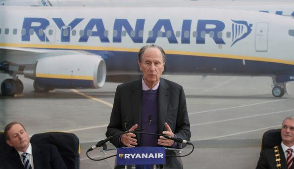 New Ryanair offices...Ryanair Chairman David Bonderman speaking at the opening of the company's new offices in Swords in Dublin. PRESS ASSOCIATION Photo. Picture date: Thursday April 3, 2014. See PA story INDUSTRY Jobs Ireland. Photo credit should read: Niall Carson/PA Wire...A