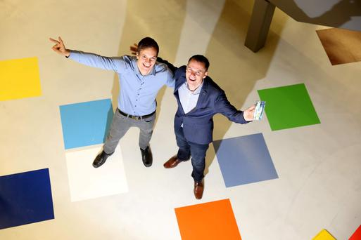 Marcus Koehler, co-founder of Comfylight and Eoin Costello, CEO of Startup Ireland at the Google Foundry yesterday