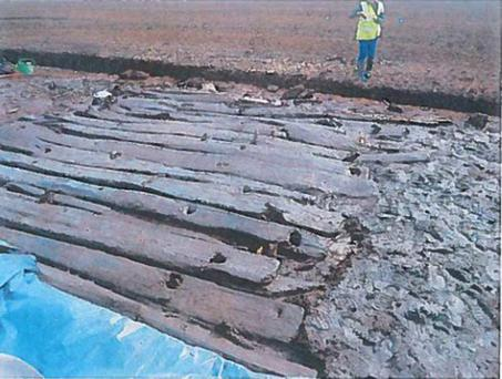 A section of Bronze Age timber trackway in the Mayne Bog in Co Westmeath exposed in test excavation in May 2015