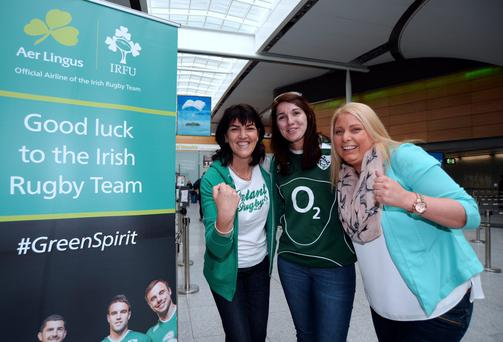 18 Sept 2015; Ireland fans depart for Cardiff ahead of Ireland's match against Canada in the Rugby World Cup 2015. l-r; Darina Mooney, from Glasnevin, Irene Murphy, from Kilcock, and Gillian Monaghan, from Kells. Dublin Airport Terminal 2, Dublin. Picture: Caroline Quinn