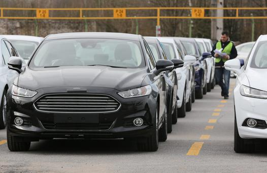 New Ford Mondeos ready for delivery. Turnover has soared by 76pc in the Irish market