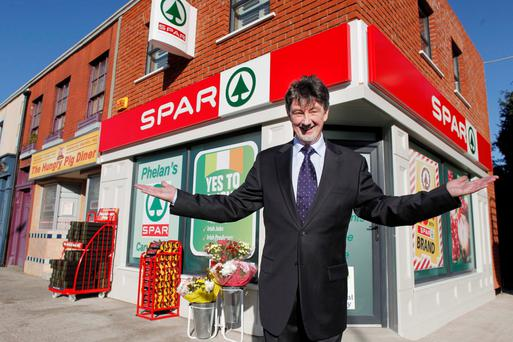 Tom Hopkins, who plays Fair City's Christy Phelan, outside the fictional TV shop that actually is more profitable than the average Spar, bringing in €300,000 profit a year