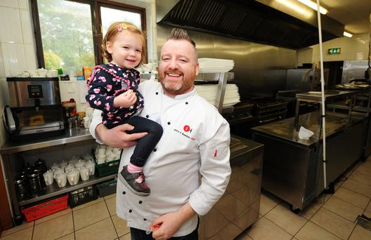 At the mercy of parents: Viewmount House head chef Gary O'Hanlon with his daughter Cora. Photo: James Flynn/APX