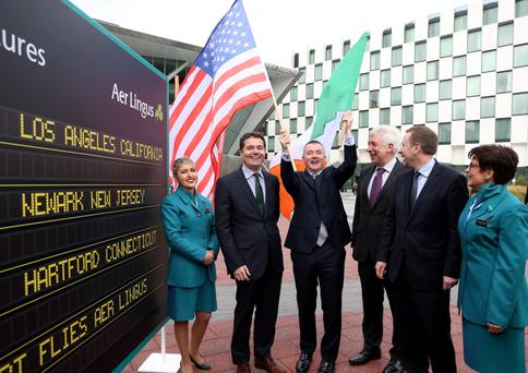 IAG boss Willie Walsh flies the flags at Aer Lingus's launch of new services to the United States in Dublin last week