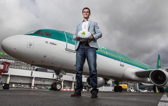 Jonny Sexton flies the flag with Aer Lingus before the RWC