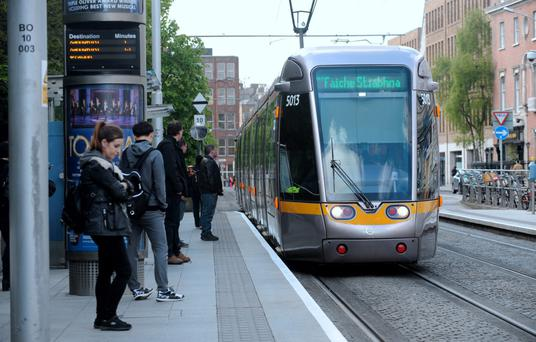 A Luas arriving at St. Stephen's Green stop. Photo: Caroline Quinn