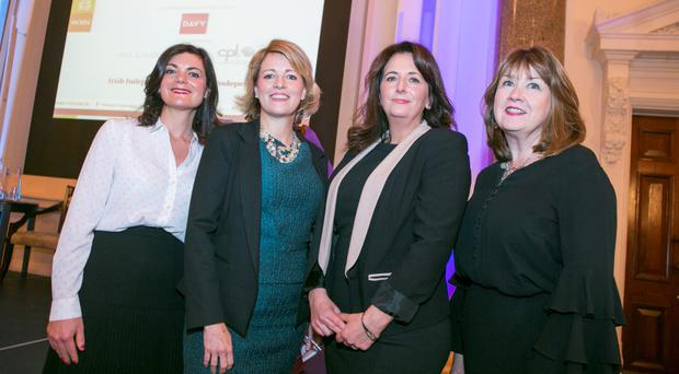 Niamh Gallagher, Women for Election, Margaret E Ward, RTE Board, Mandy Johnston, Irish Independent columnist, and Thora Mackey, Institute of Directors, pictured at the Women's Executive Network (WXN) Breakfast in Dublin's Westin Hotel yesterday