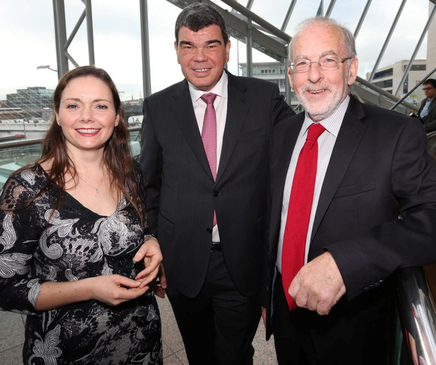Guest of honour Patrick Honohan, right, with Small Firms Association (SFA) director Patricia Callan and chairman AJ Noonan at yesterday's SFA lunch in Dublin