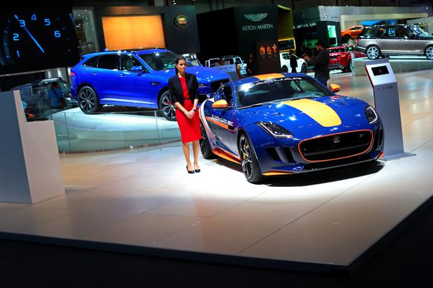 A Jaguar F-Type on display at the Jaguar stand during the Dubai Motor Show at the World Trade Centre in Dubai, United Arab Emirates, this week.