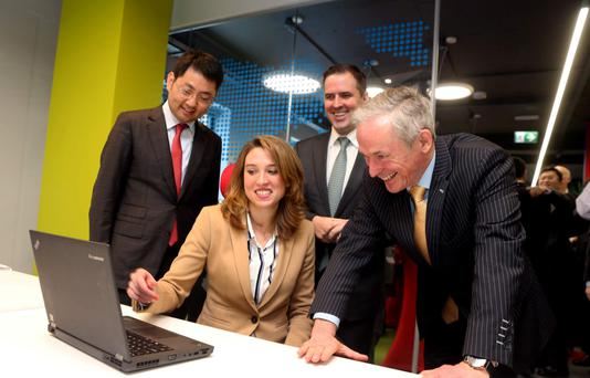 Walter JI Rengui, president of Carrier BG Western European Region; Huawei employee Rosa Chaves Rodriguez; IDA chief executive Martin Shanahan; and Minister for Jobs, Enterprise and Innovation Richard Bruton yesterday. Photo: Jason Clarke