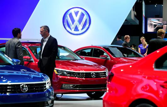 New Volkswagen vehicles are displayed at the 2015 Los Angeles Auto Show in Los Angeles. Photo: AFP/Getty Images