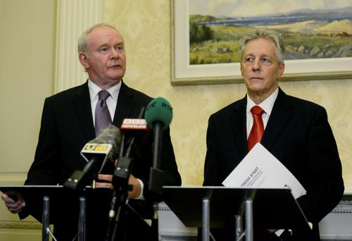 Martin McGuinness and Peter Robinson at last week's announcement of their 'Fresh Start' agreement, which will change northern tax rates. Photo: Colm Lenaghan