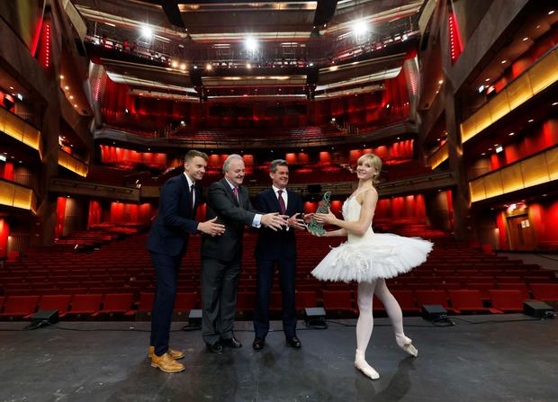 From left, Andrew Hetherington, CEO of Business to Arts; Brendan Murphy, CEO Allianz; Feargal O'Rourke, managing partner at PwC, with Royal Ballet First Soloist, Mellissa Hamilton