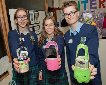 Macarena Serrano, Maria Ros, Miguel Riesco with their 'Power Bottles' during the launch of Colaiste Chraobh Abhann Pop-Up Shop for 'spirit of enterprise week' located on the Main Street of Kilcoole