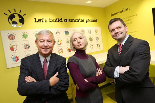 Peter O'Neill, country manager, IBM Ireland; Maria Ginnitty, strategic policy division, Department of Jobs, Enterprise and Innovation, and Stephen Merriman, PwC R&D group leader at the Dublin event yesterday