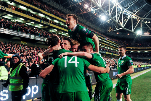 Republic of Ireland players celebrate. Photo: Sportsfile