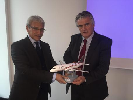 CityJet executive chairman, Pat Byrne, right, at a Berlin aviation conference where the aircraft deal with Superjet International was announced in October, with Superjet International boss, Nazario Cauceglia. CityJet has 15 firm orders and 16 options