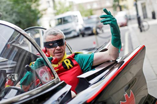 Ryanair boss Michael O'Leary on a photoshoot as Robin for his airline's new car hire venture in November, 2015. Photo: Bloomberg