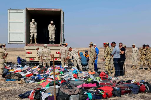 The wreckage of the Russian plane that crashed in Egypt. Photo: AFP