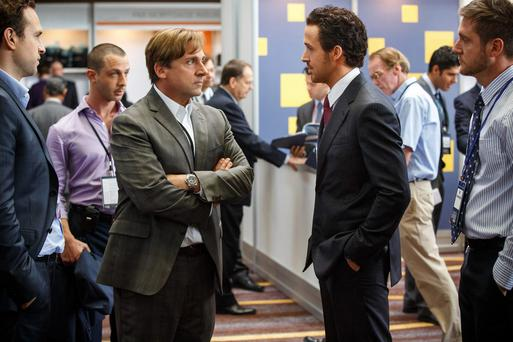 Steve Carell and Ryan Gosling in a scene from The Big Short.