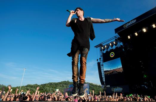 The Script rock band vocalist, Irish Danny O'Donoghue performs during the second day of the of the Pinkpop Music Festival in Landgraaf, on June 13, 2015.