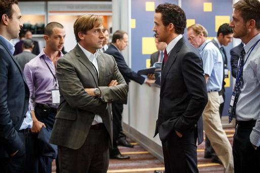 Steve Carell and Ryan Gosling in a scene from Hollywood movie 'The Big Short' which examines the recent financial crash in the United States