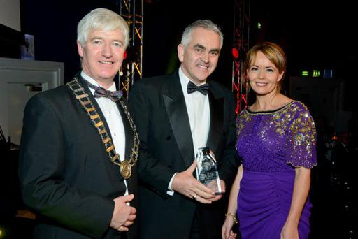 President of the Irish Travel Agents Association Martin Kelly, ClickandGo.com chief executive Paul Hackett and American Airlines country manager Caitriona Toner. Photo: Dominic Lee
