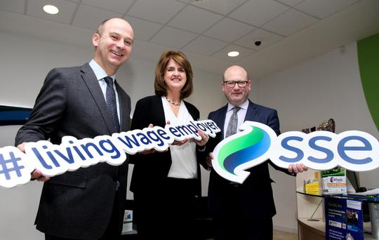 SSE Airtricity Managing Director Stephen Wheeler, An Tanaiste Joan Burton TD and Minister for Business and Employment Ged Nash TD