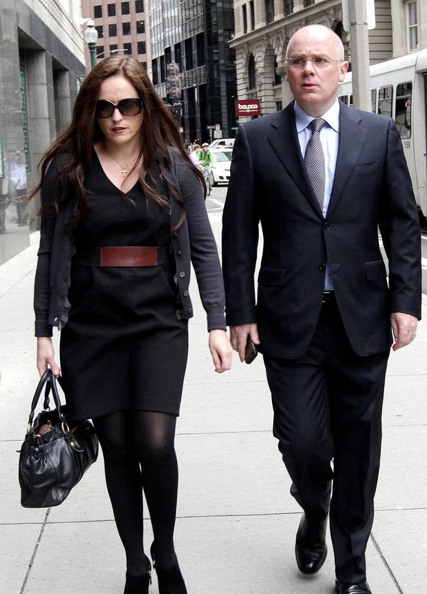 David Drumm with his wife, Lorraine, outside the US Bankruptcy Court.