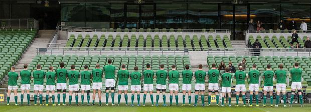 LET'S ALL TACKLE HOMELESSNESS: Ahead of last week's opening Six Nations match the Irish rugby team lined out to urge fans and the rest of Ireland to help by texting HOME to 50300 to donate €2 with all funds going directly to Focus Ireland. Photo: Dan Sheridan
