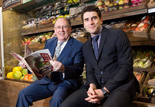 SuperValu managing director Martin Kelleher with brand ambassador, the Dublin footballer Bernard Brogan, in Killarney yesterday Photo: Darragh Kane