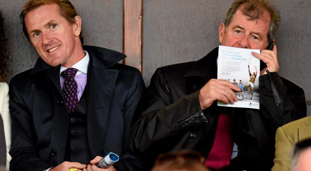 JP McManus (right) at a Limerick hurling match with AP McCoy.
