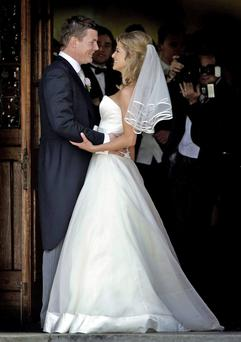 Brian O Driscoll and Amy Huberman on their wedding day at St Josephs Church in Aughavas Co Leitrim.