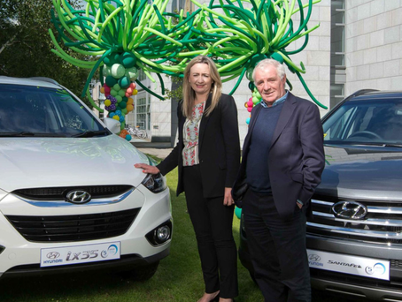 Hyubdai marketing manager Sarah Hayes with Eamon Dunphy
