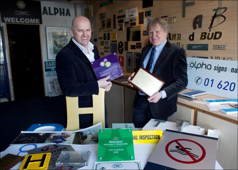 Sean Gallagher with Owen Kennedy of Alpha Sign Nameplate & Decal . Photo: David Conachy