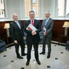 Dalata CEO Pat McCann CEO with (on left) company secretary and CFO Sean McKeown, and deputy CEO Dermot Crowley.