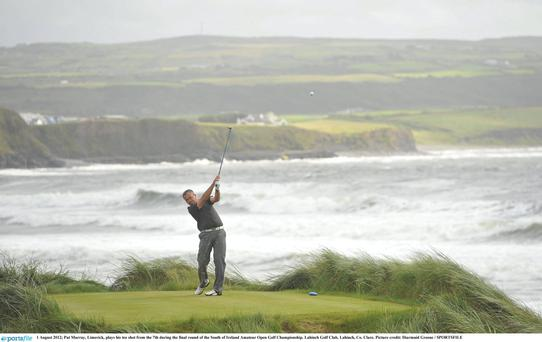 South of Ireland Amateur Open Golf Championship - Final Round - Wednesday 1st August 2012...1 August 2012; Pat Murray, Limerick, plays his tee shot from the 7th during the final round of the South of Ireland Amateur Open Golf Championship. Lahinch Golf Club, Lahinch, Co. Clare. Picture credit: Diarmuid Greene / SPORTSFILE...ABC