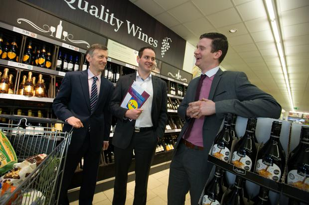 DKM director John Lawlor; JP Scally, managing director, Lidl; and Shaun McKevitt of Terra, one of Lidl's 180 suppliers, pictured at the report's launch yesterday