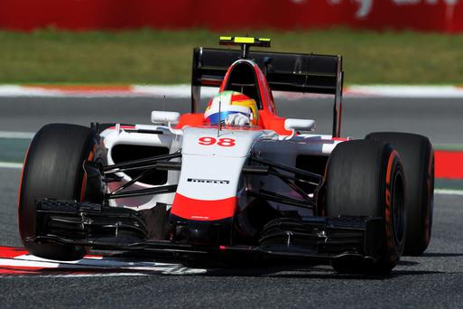 A Manor Forumula 1 car pictured during a practice session last year in Spain last year