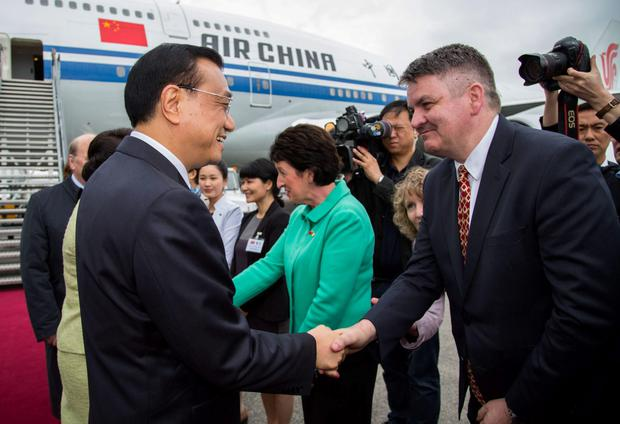 Former Shannon Group CEO Neil Pakey greets Chinese premier Li Keqiang who was visiting the midwest region last May