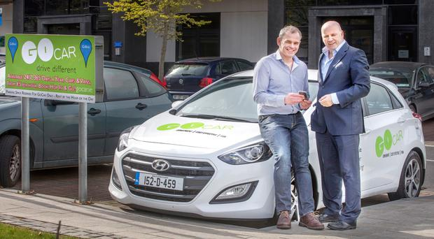 Colm Brady of Go Car with Sean Gallagher. Photo: Tony Gavin
