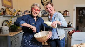 Ballymaloe director Darina Allen pictured with her daughter-in-law, the well-known TV chef Rachel Allen, at the cookery school, outside Midleton in Co Cork
