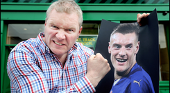 Paddy Power, son of company co-founder David Power, menaces a photo of Jamie Vardy after Leicester won the Premier League Photo: Steve Humphreys