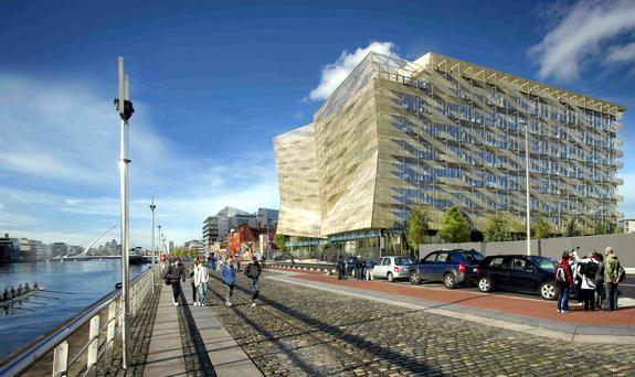 A digital image of the new Central Bank building on North Wall Quay in Dublin