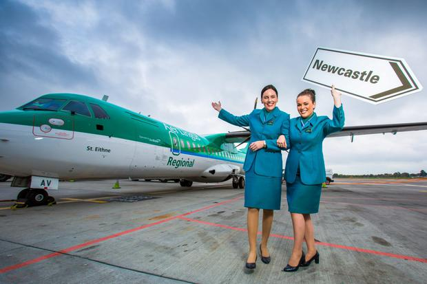 Picture shows Mary Bourke and Ciara Moore, Cabin Crew, Aer Lingus Regional, launching the winter schedule at the first flight of the new Aer Lingus Regional, route to Newcastle . The first flight on this new route to Newcastle of Aer Arann's winter schedule comes as the airline continues to implement its growth plan. Aer Lingus Regional adds 100,000 seats for Winter and an extra 50 flights per week to key UK and Scottish cities, 10,000 additional seat to London Southend and a 10% increase in capacity in Cork. All flights are on sale on