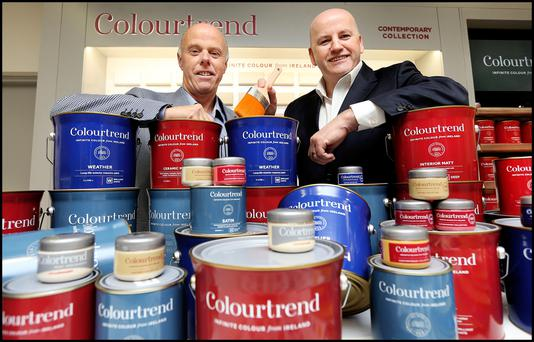 Kevin O'Connor of Colourtrend with Sean Gallagher. Photo: Steve Humphreys